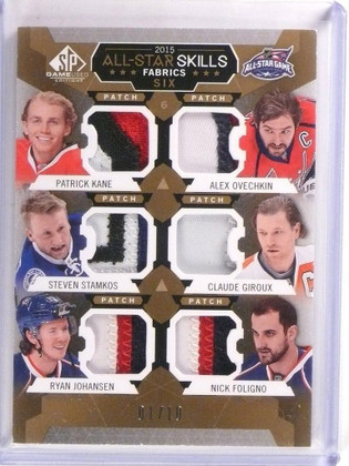 15-16 Sp game Used All-Star Six Kane Ovechkin Stamkos Foligno patch #D1/10 *5337