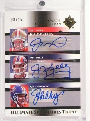 2005 Ultimate Triple Joe Montana Jim Kelly John Elway autograph auto /15 *49977