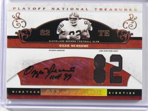 2007 National Treasures All-Decade Ozzie Newsome auto autograph patch #D31/82 *3