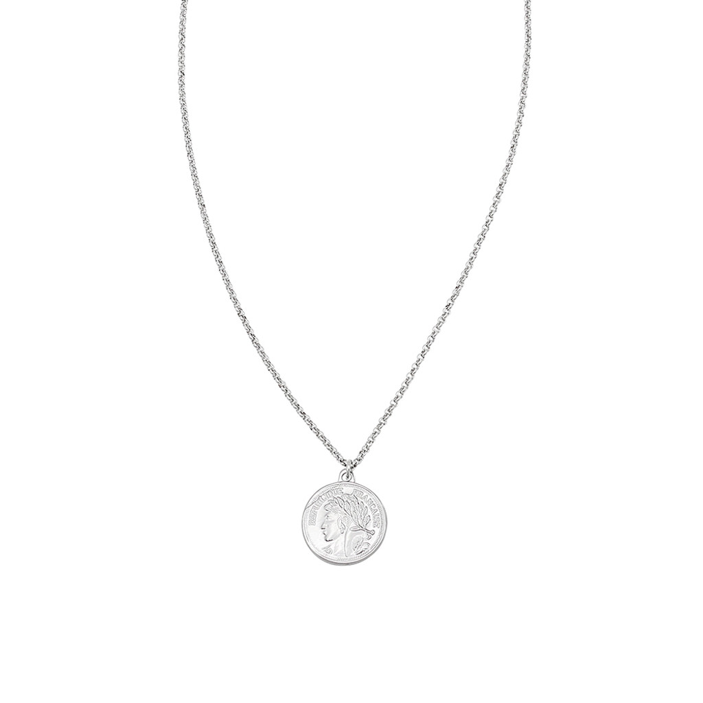 Jolie & Deen Republique Coin Necklace - Silver