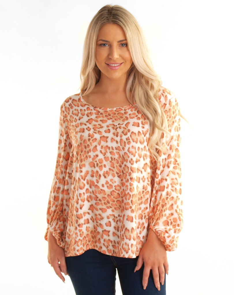 Freez Animalistic Top - Coral Print
