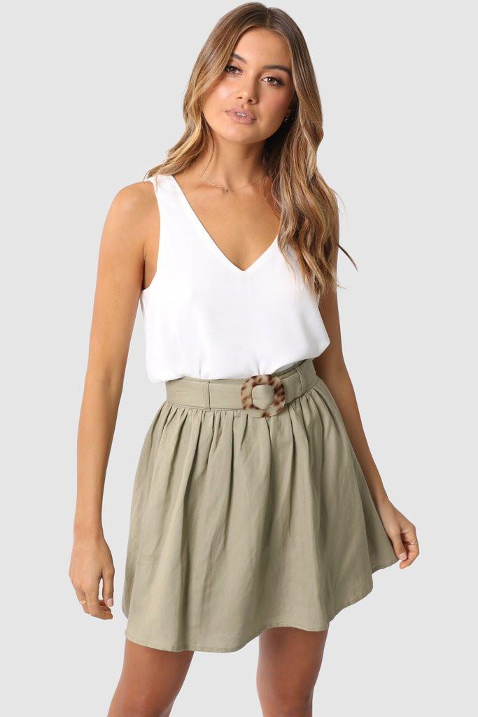 Madison The Label Farah Skirt Khaki