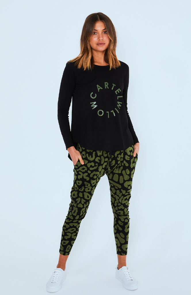 Cartel & Willow Kenji Pant Khaki Leopard