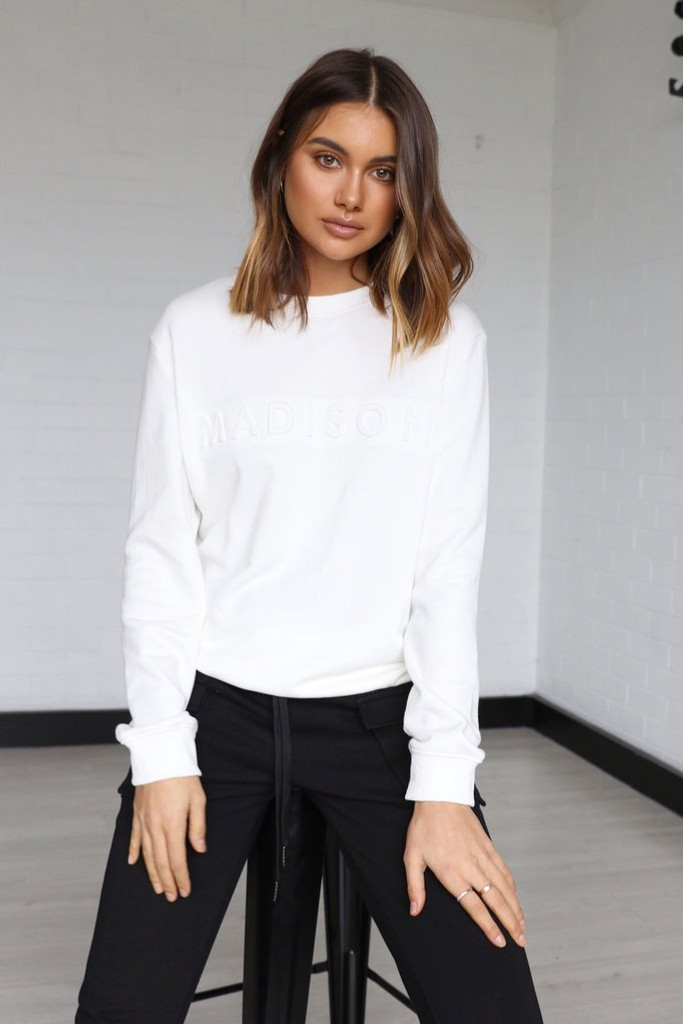 Madison The Label Embossed Sweater White
