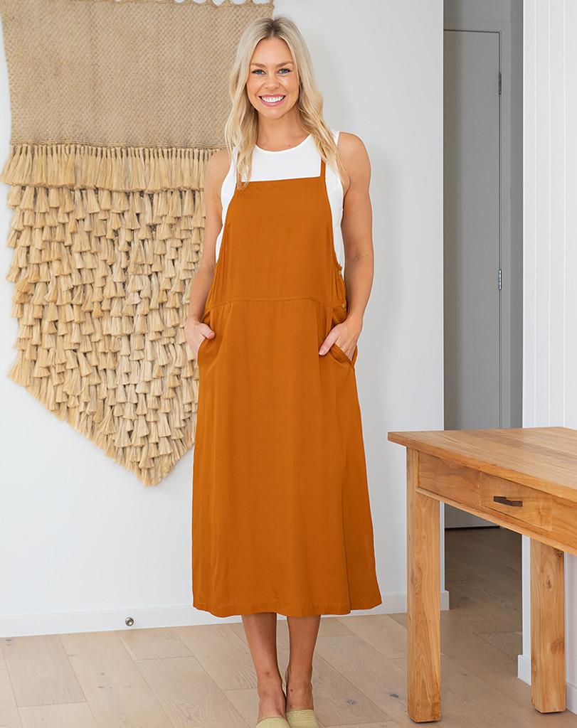 Freez Apron Dress Tan