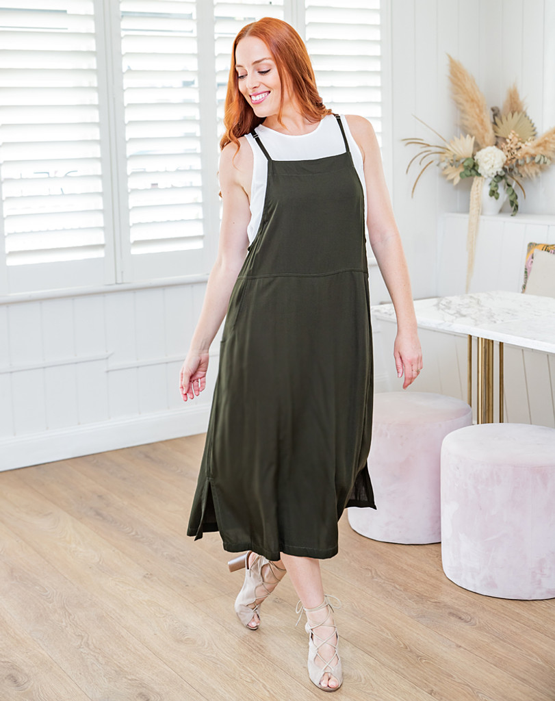 Freez Apron Dress Khaki
