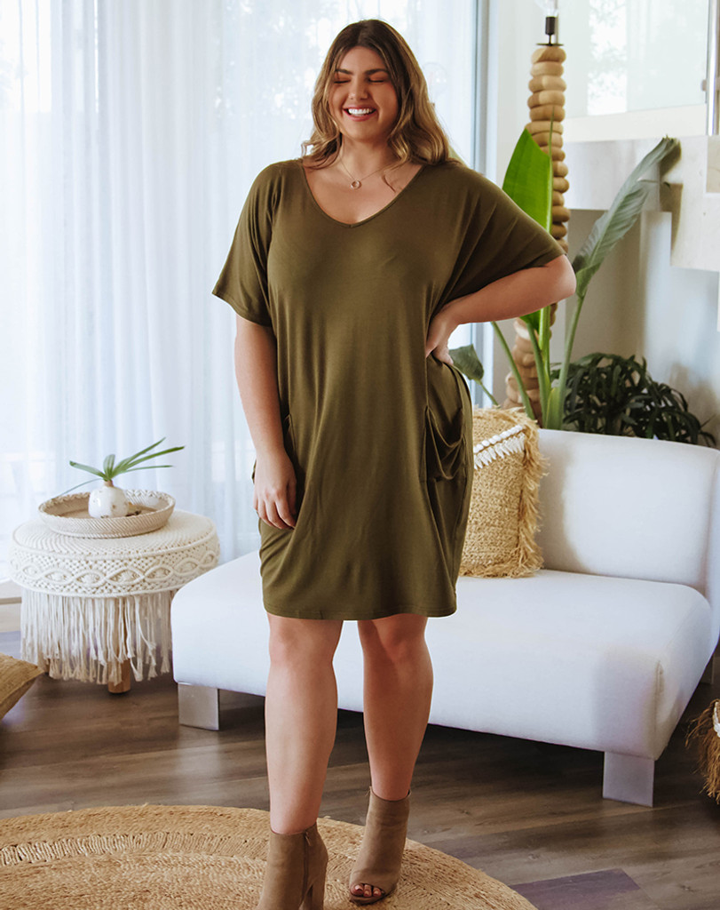 Freez Jersey Shift Dress Khaki