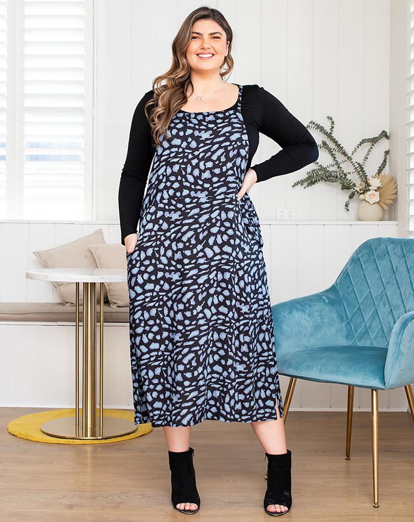 Freez Apron Dress Stone Print