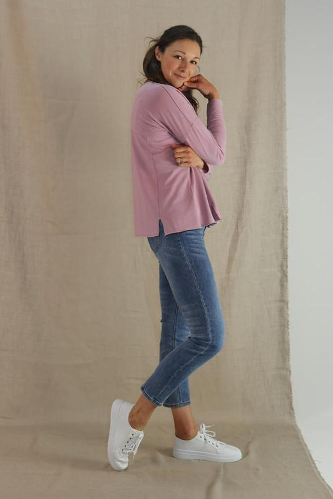 One Ten Willow Crew Neck Top Lilac