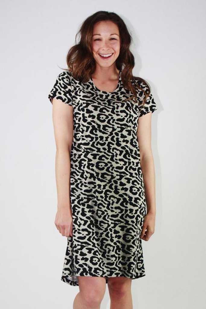 One Ten Willow Betty Dress Khaki Animal Print