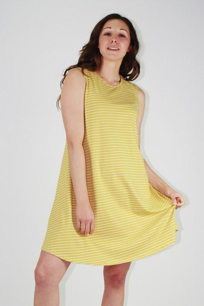 One Ten Willow Swing Tank Dress Mustard White Stripe
