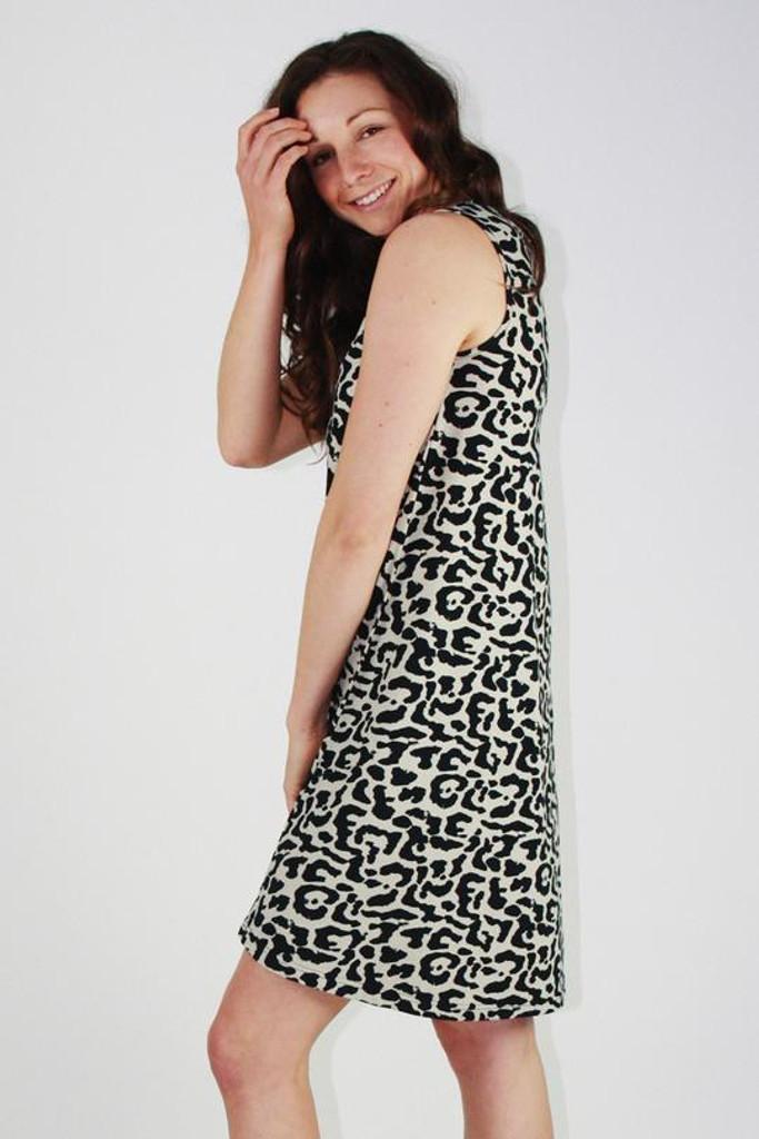 One Ten Willow Swing Tank Dress Khaki Animal Print