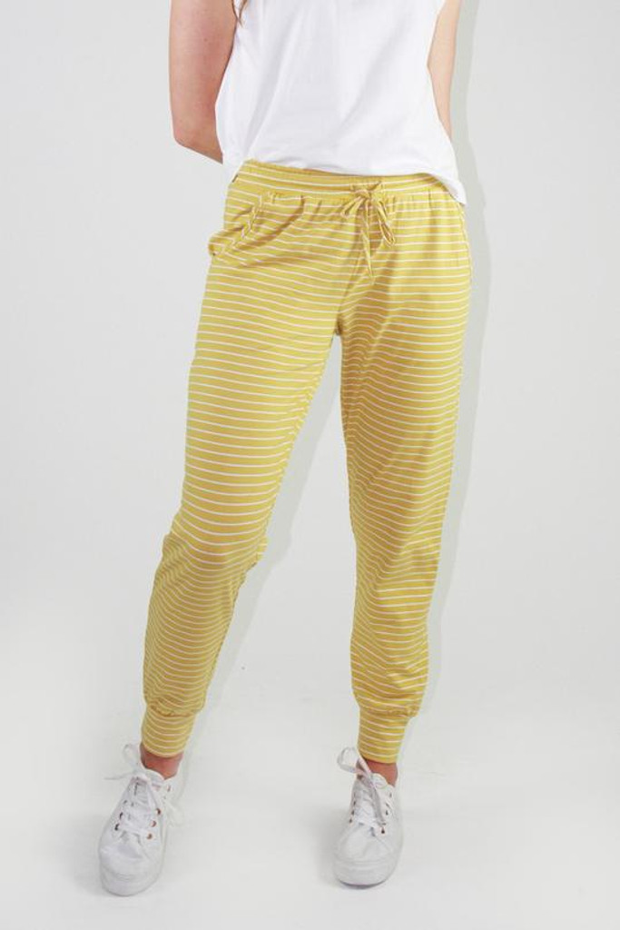 One Ten Willow Everyday Pant Mustard White Stripe