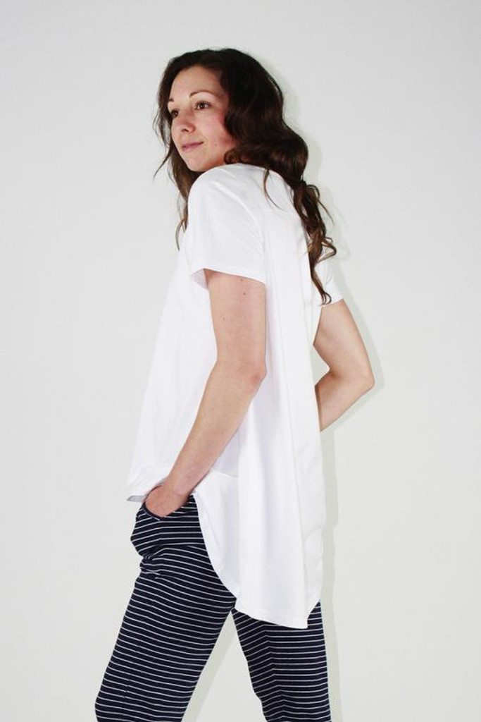 One Ten Willow V Neck DB Tee White