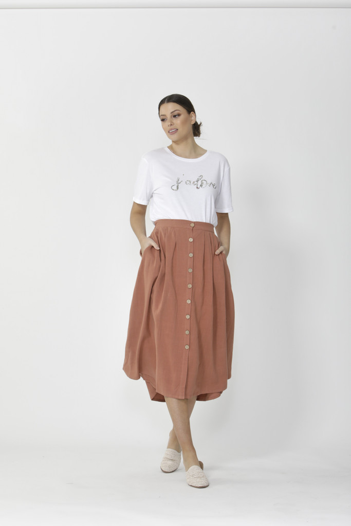 Sass Sutton Skirt Terracotta