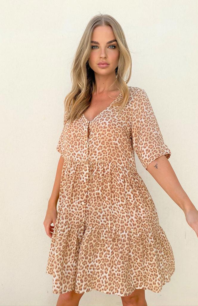 Cartel & Willow Selena Mini Dress Tan Leopard