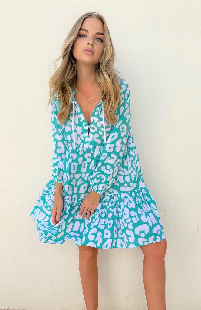 Cartel & Willow Cali Mini Dress Aqua Leopard