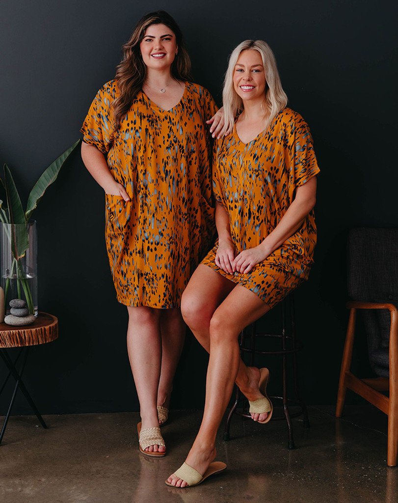 Freez Pocket Dress Mustard Batik
