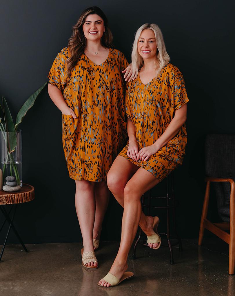 Freez Pocket Dress Mustard Batik