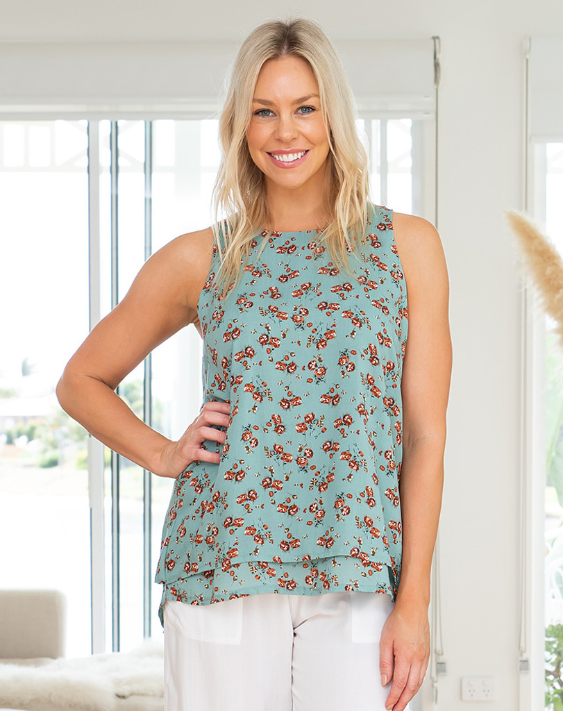 Freez Layered Top Green Floral