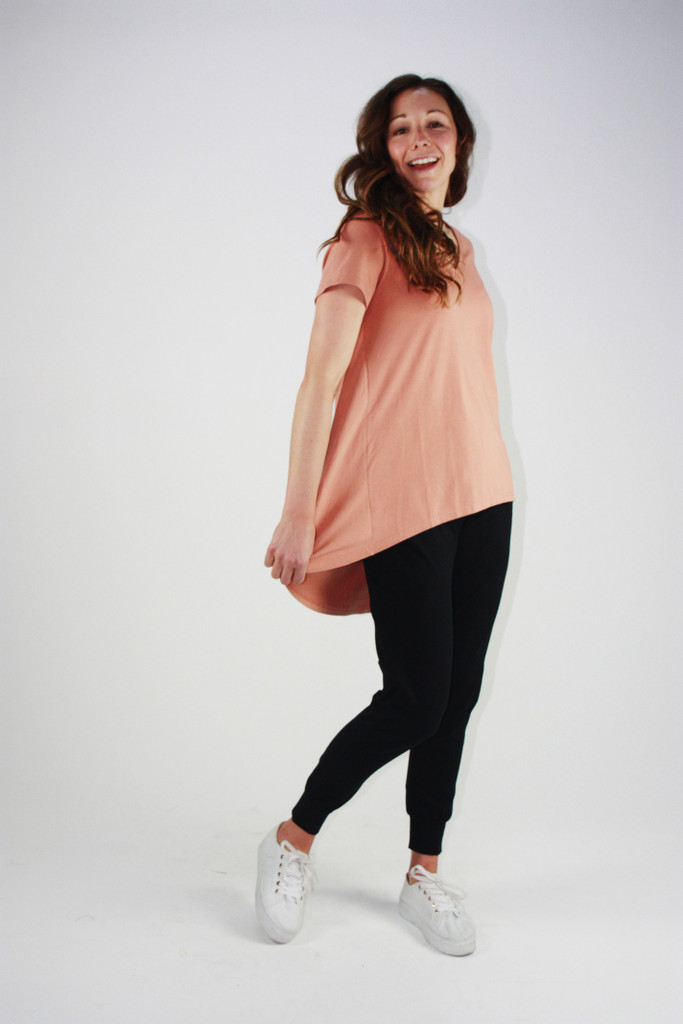 One Ten Willow V-Neck Drop Back Tee Clay