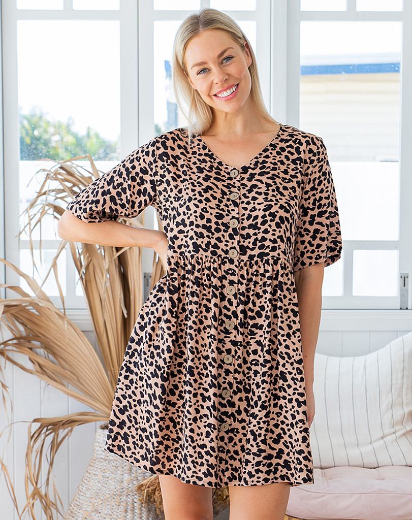 Freez Babydoll Dress Beige Animal Print