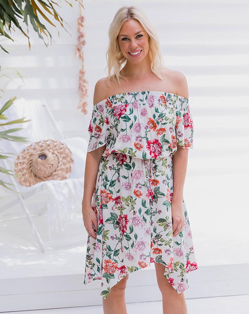 Freez Gypsy Dress White Floral