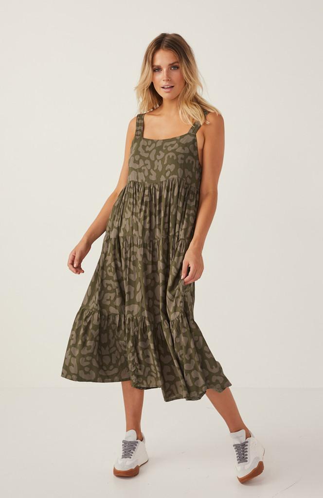 Cartel & Willow Avril Midi Dress Khaki Leopard