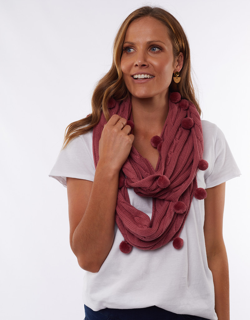 Elm Bobble Loop Scarf Rose