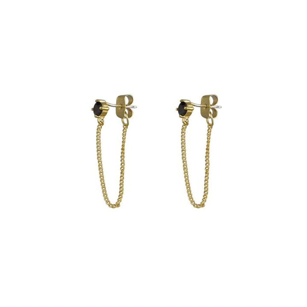 Jolie & Deen Regina Chain Earrings Black
