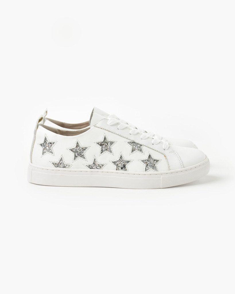 Walnut Melbourne Haven Leather Sneaker Silver Glitter