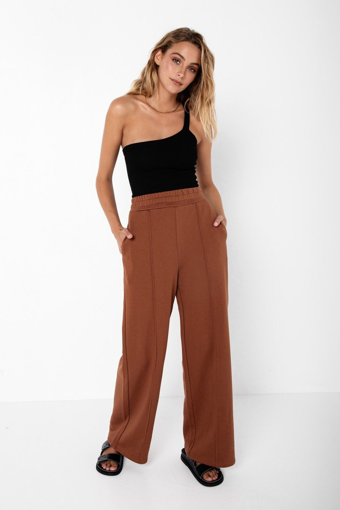 Madison The Label Fin Tracksuit Pant Choc