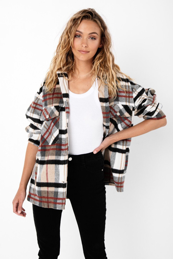 Madison The Label Anderson Jacket Tan Check