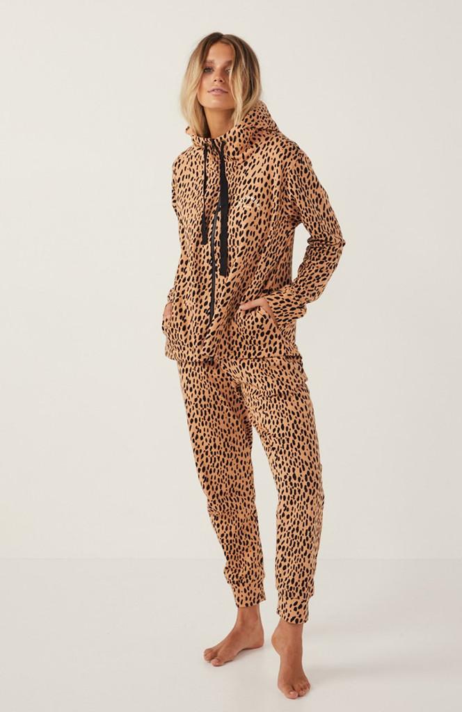 Cartel & Willow Dion Zip Up Hoodie Toffee Leopard