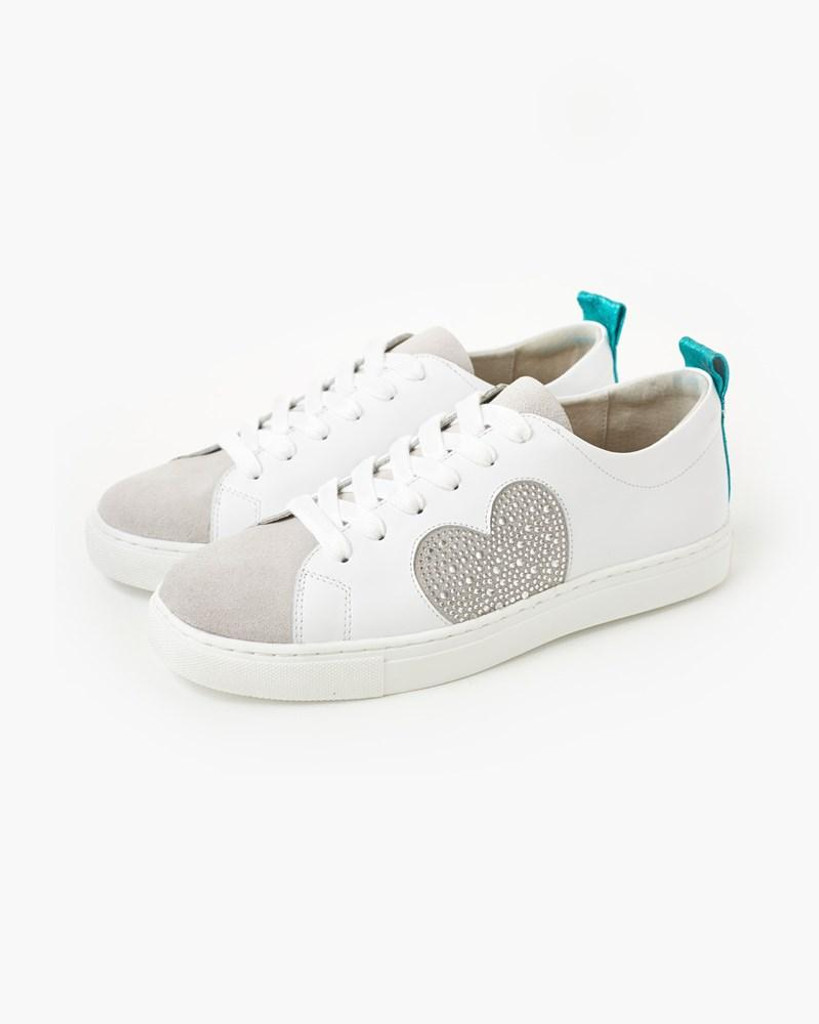 Walnut Melbourne Heart Leather Sneaker Silver Crystal