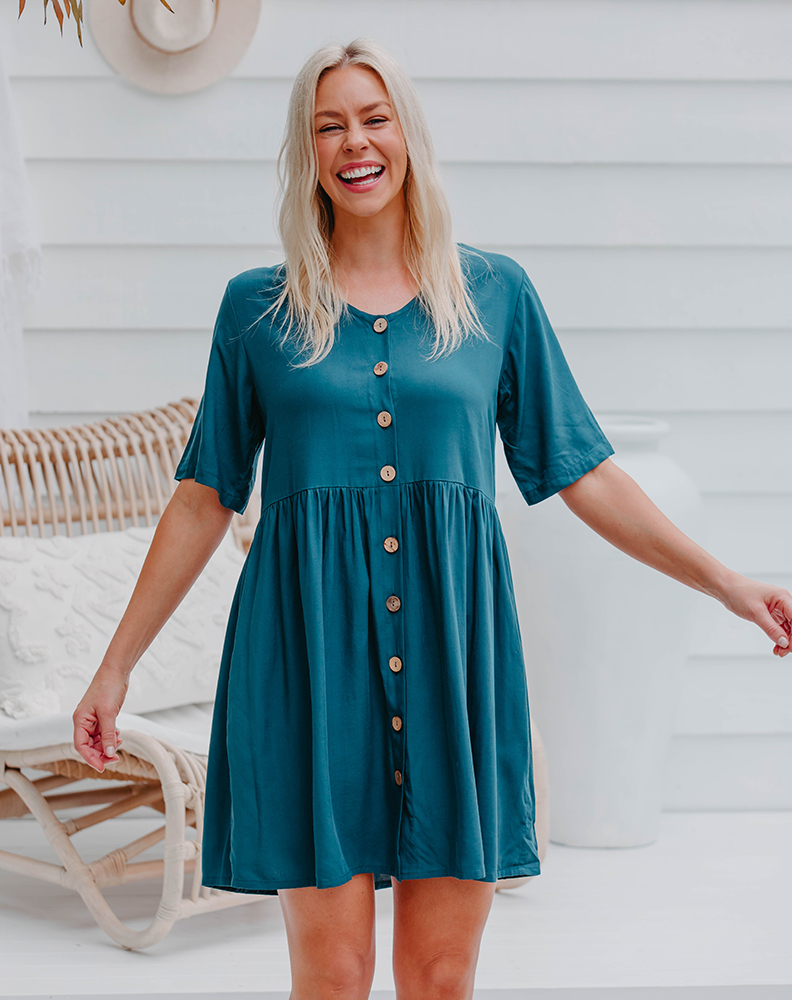 Freez Babydoll Dress Teal