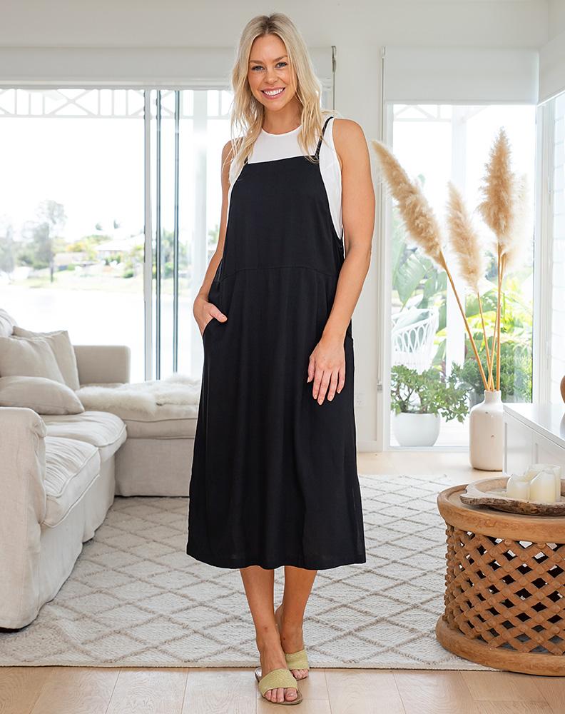 Freez Apron Dress Black