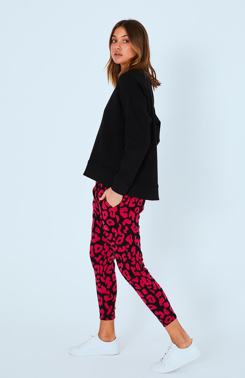 Cartel & Willow Kenji Comeback Pant Fuchsia Leopard Print
