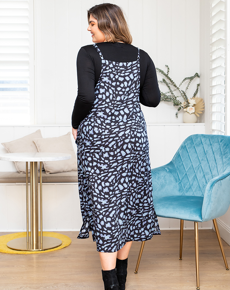 Freez Apron Dress Stone Print