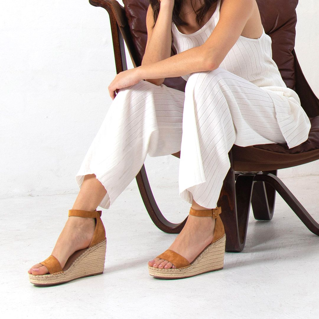 Nude Footwear Elyssa Wedge Heel Tan Suede