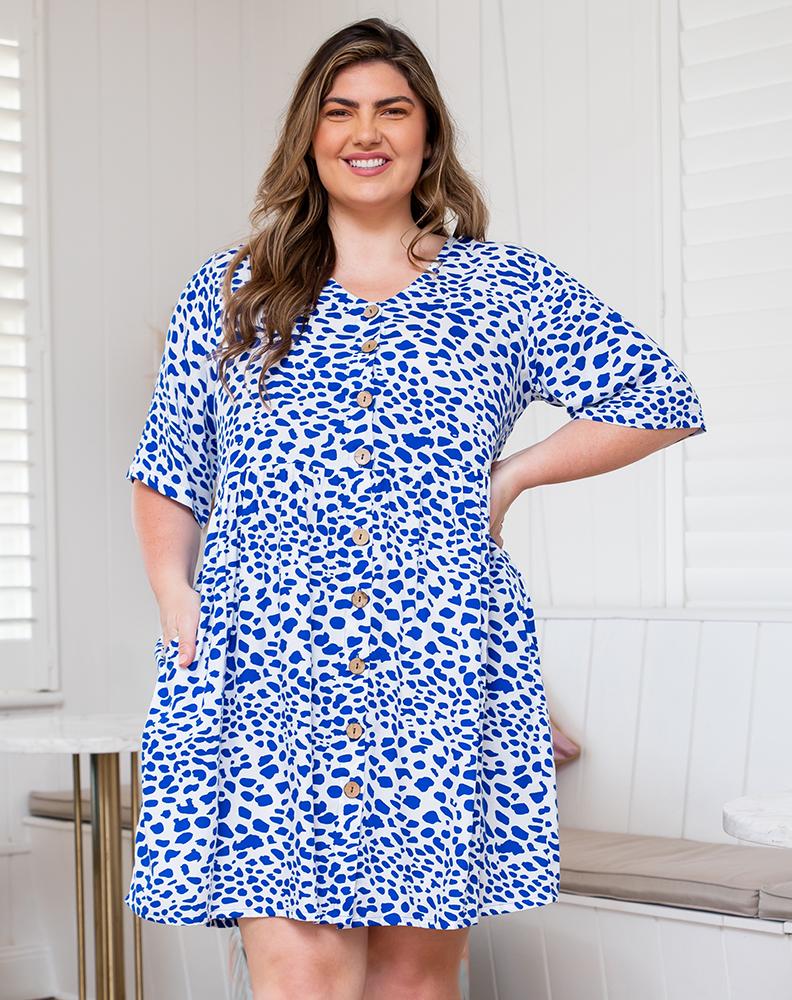 Freez Babydoll Dress White Blue Print