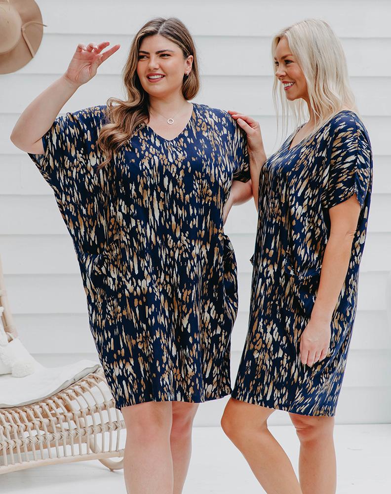 Freez Pocket Dress Navy Batik