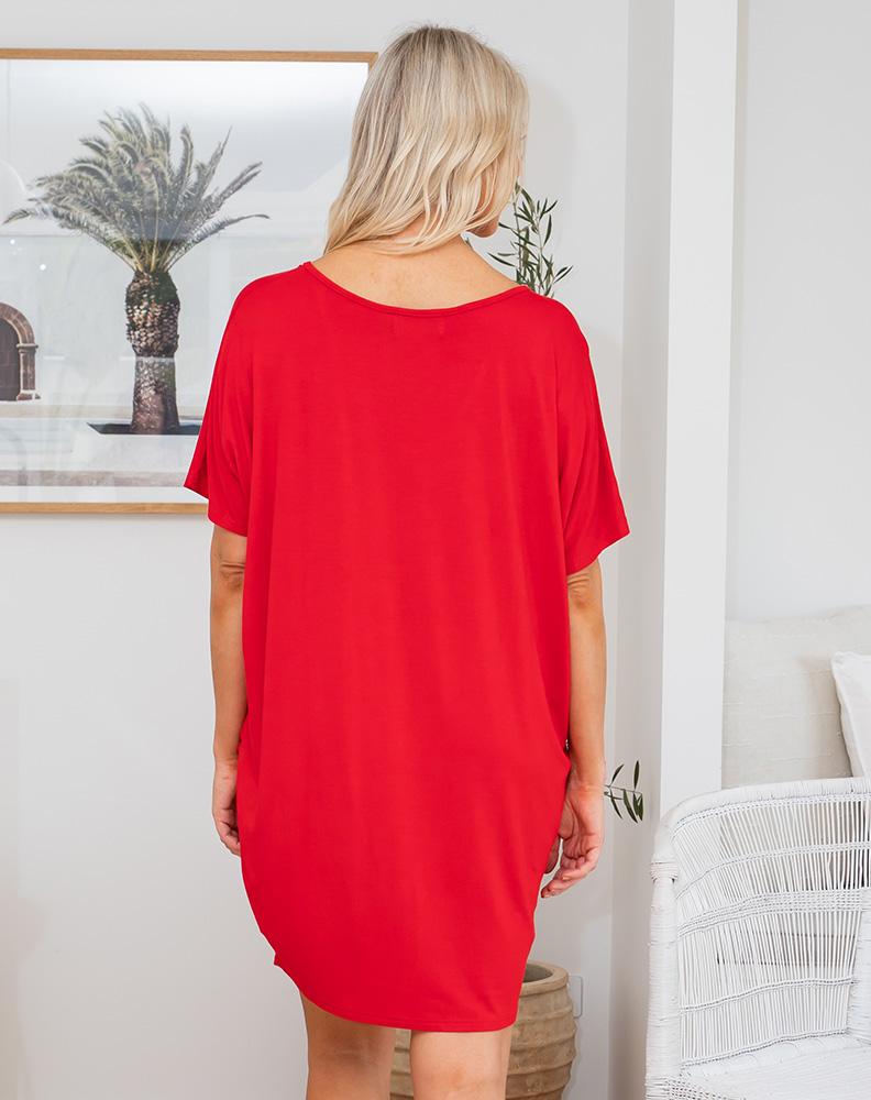 Freez Jersey Shift Dress Red