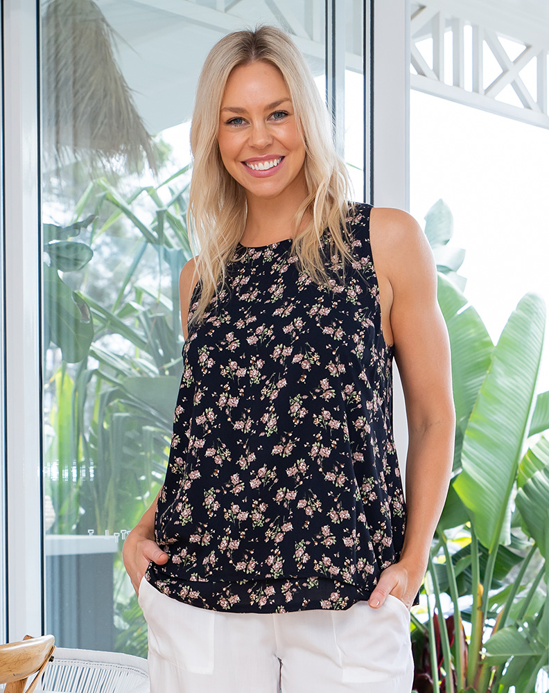 Freez Layered Top Navy Floral