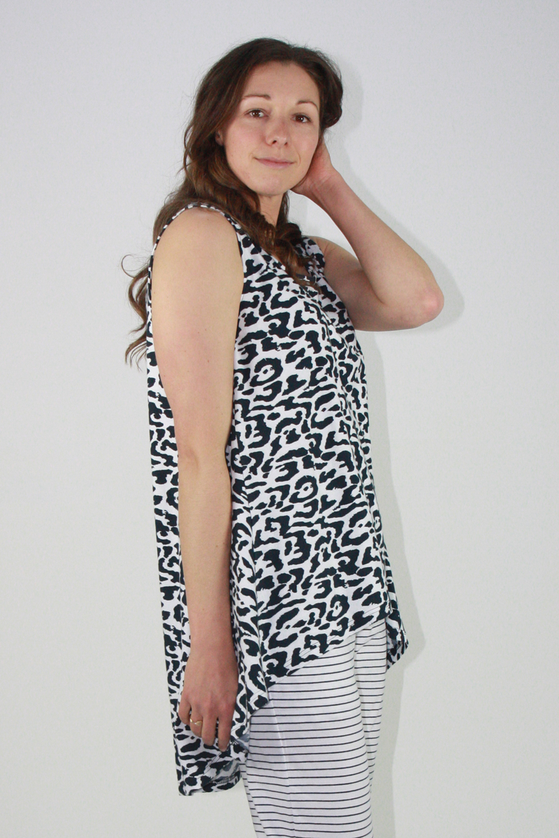 One Ten Willow Drop Back Tank Navy Animal Print