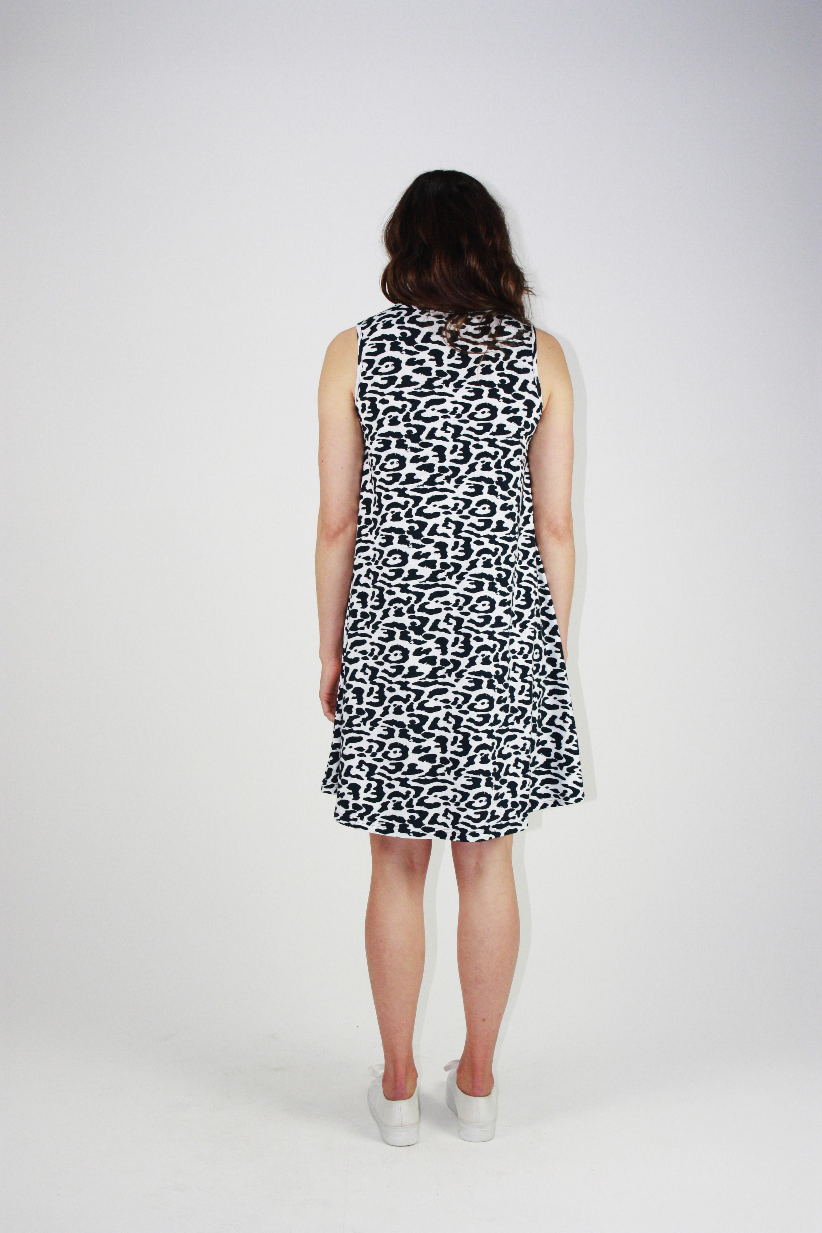 One Ten Willow Swing Tank Dress Navy Animal Print