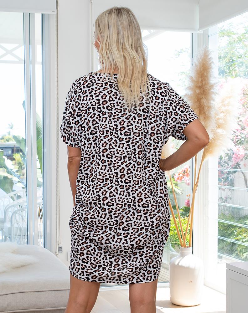 Freez Pocket Dress White Animal Print