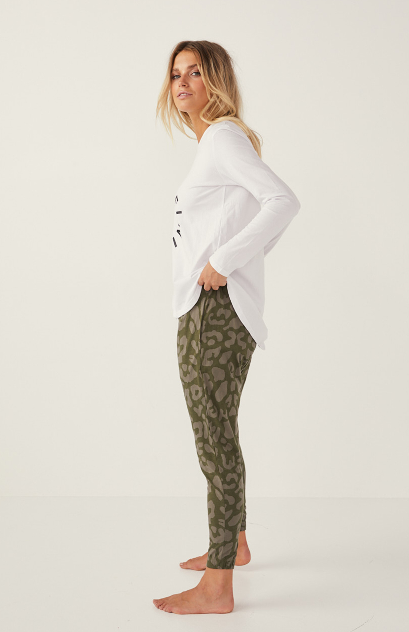 Cartel & Willow Kenji Comeback Pant Khaki Leopard Print