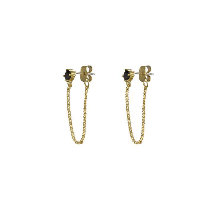 Jolie & Deen Regina Chain Earrings Black