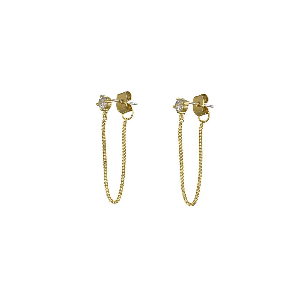 Jolie & Deen Regina Chain Earrings Crystal
